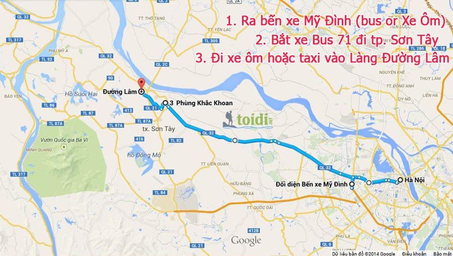 Ban do di Duong Lam Du lịch Làng cổ Đường Lâm