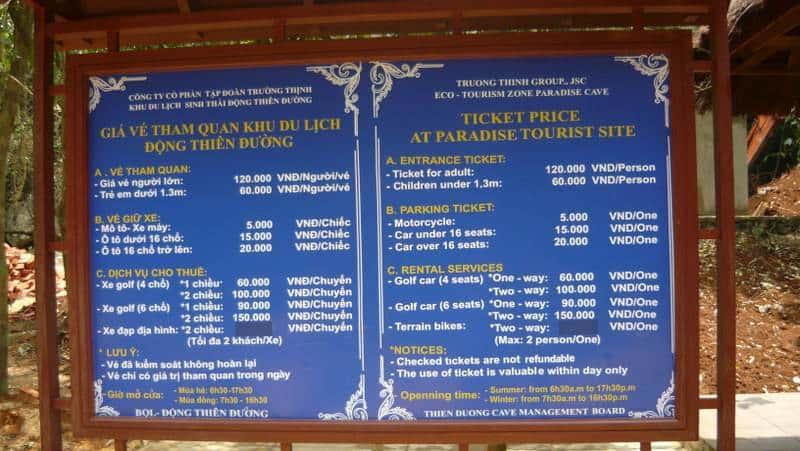 Giá vé động thiên đường