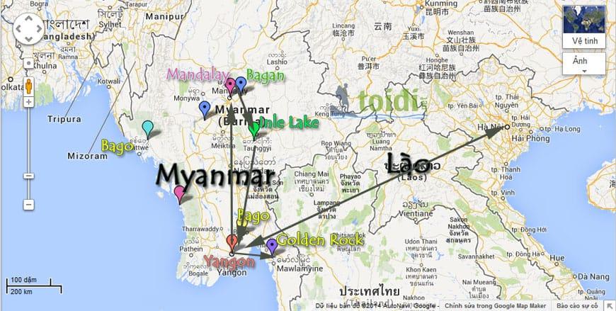 Ban do du lich Myanmar