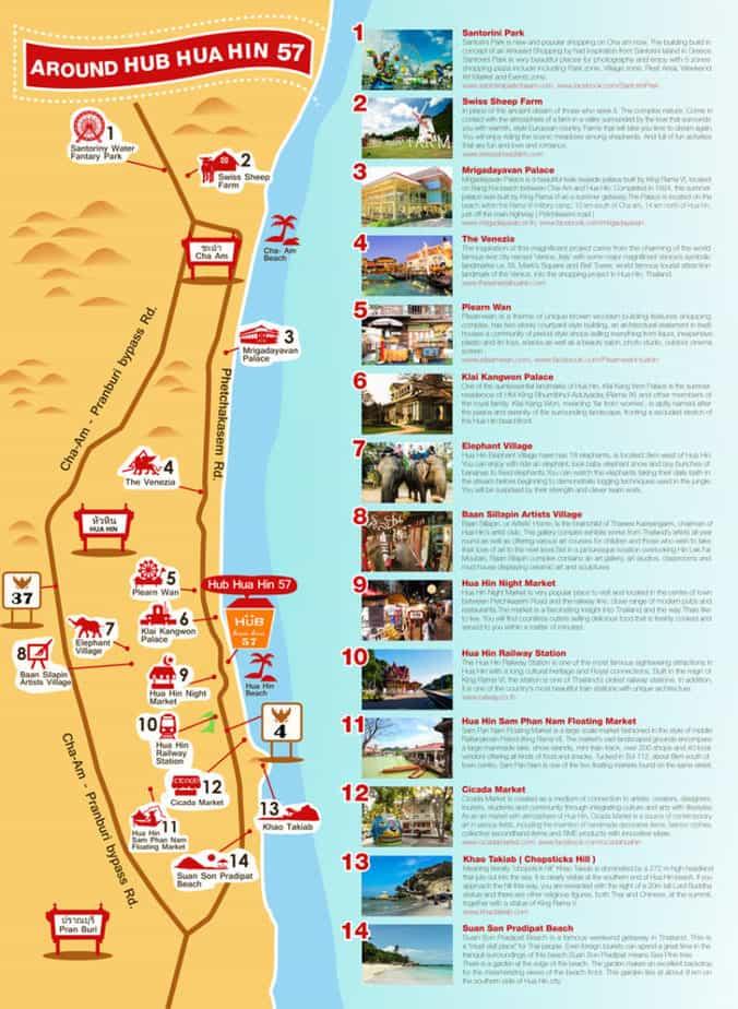 bản đồ du lịch Hua Hin