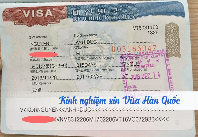 Kinh nghiệm xin Visa Hàn Quốc Tự Túc